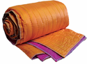 Silk Jacquard Reversibe Hand Quilted Throw in Orange/Fushia 60x60