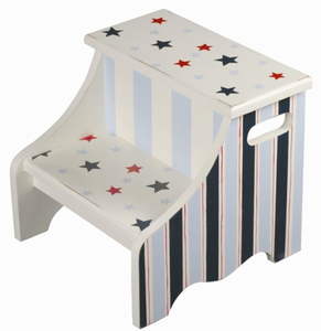 Stars and Stripes Nautical Kids Step Stool