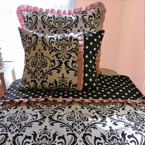 Sweet Pink and Licorice Girls 3 Piece Twin Duvet Bedding Set