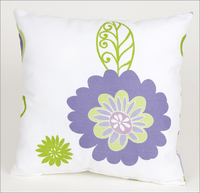 Sweet Potato Lulu White Pillow with Lavender Flowers
