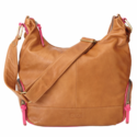 Tan and Pink Leather Hobo Diaper Bag by OiOi