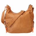 Tan & Orange Leather Hobo Diaper Bag by OiOi