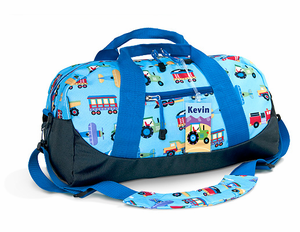 Trains, Planes and Trucks Kids Duffle Bags by Olive Kids