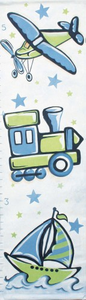 Transportation in Blue & Green Kids Growth Chart