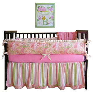 Watermelon Paisley 3 Piece Crib Bedding Set