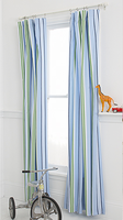 Whistle & Wink Blue Preppy Stripe Window Panel