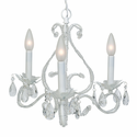White 3 Arm Beaded Crystal Chandelier