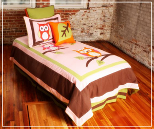 Whoo Whoo Kiley  Girls 5 Piece Twin Duvet Bedding - Final Closeout. On Sale until All Stock is Gone