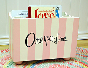 Pink and White Stripe Wooden Bookholders