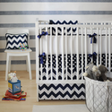 Zig Zag in Navy Crib Bedding