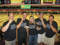 A Bacon Bowling team in our Team Bacon t-shirts