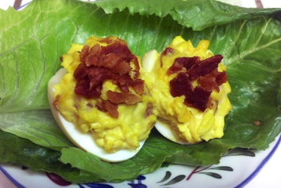 Bacon Cheddar Deviled Eggs