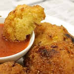 Bacon Corn Hushpuppies with Honey Sriracha Dipping Sauce