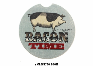 """Bacon Time"" Absorbent Car Coaster"
