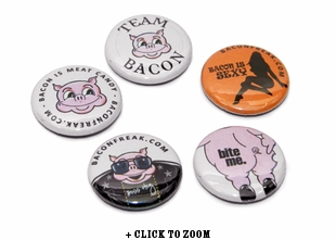 "Baconfreak Button Pins - 1"" - 5 Pack"