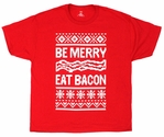 Be Merry, Eat Bacon Mens T-shirt - Black or Red