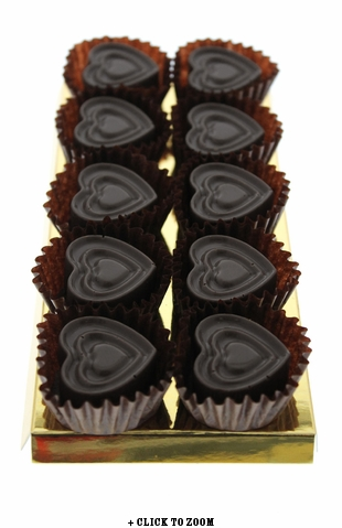 Dark Chocolate Hearts Flavored With Bacon - 10pc