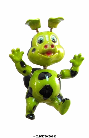 Green Spotted Piggy Bobble Magnet