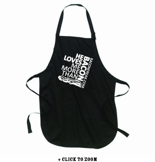 He Loves Me More Than Bacon - Square Logo Apron