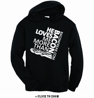 He Loves Me More Than Bacon - Square Logo Hooded Sweatshirt