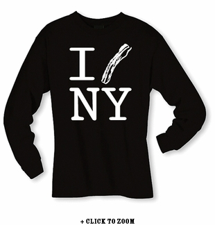 """I Bacon New York"" Long Sleeve Shirt - Black"