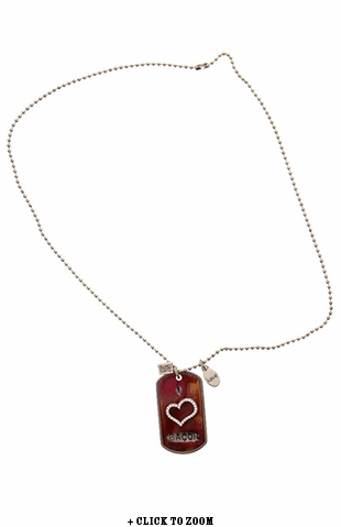 """I Heart Bacon"" Vintage Dog Tag Necklace"