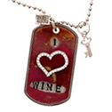 """I Heart Wine"" Vintage Dog Tag Necklace"