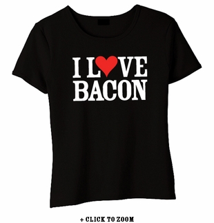 """I Love Bacon"" Baby Doll Shirt - Black"