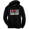 """I Love Bacon"" Hooded Sweatshirt - Black"