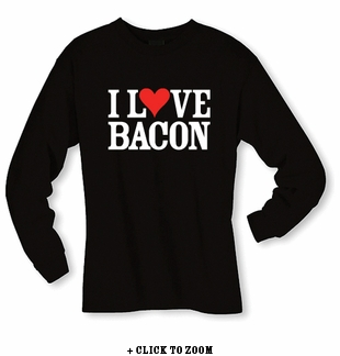 """I Love Bacon"" Long Sleeve Shirt - Black"