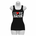 """I Love Bacon"" Womens Tank Top - Black"