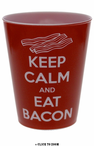 """Keep Calm And Eat Bacon"" Plastic Shot Glass"