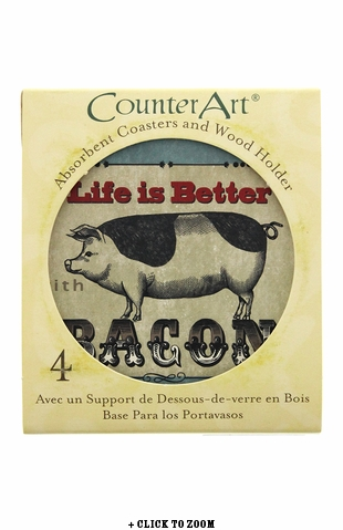 """Life Is Better With Bacon"" Coaster and Holder Set"