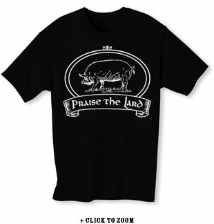 """Praise The Lard"" Mens T-shirt - Black - Blue or Pink"