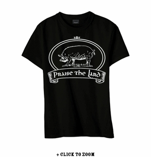 """Praise The Lard"" Youth T-shirt - Black - Blue or Pink"