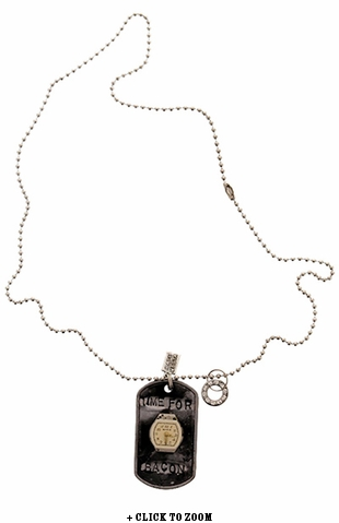"""Time For Bacon"" Vintage Dog Tag Necklace"