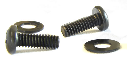 12-24 Rack Screws w/ Washers, Black - 100 Pack