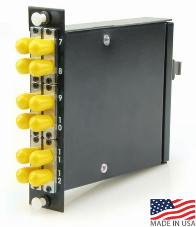 12-Fiber MTP/MPO Cassette, 12 ST/PC to 1 Male MTP, Super Elite Singlemode OS2