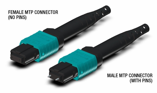 24-Fiber Dual MTP/MPO Fiber Optic Cable, Multimode OM4, Plenum