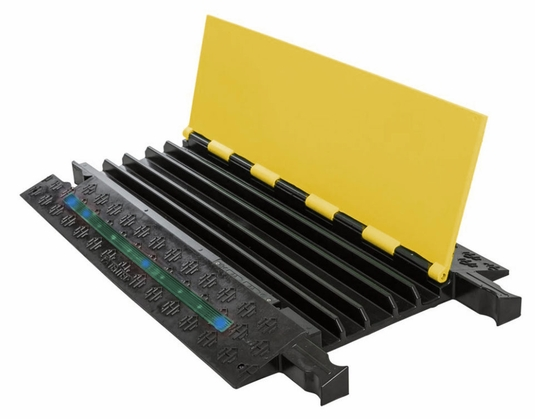 5-Channel Firefly Illuminated Cable Protector - Yellow Lid / Blue LEDs