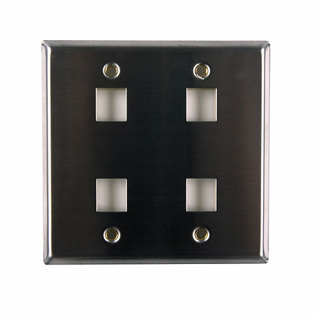 Dual Gang 4-Port Flush Mount Faceplate - Stainless Steel