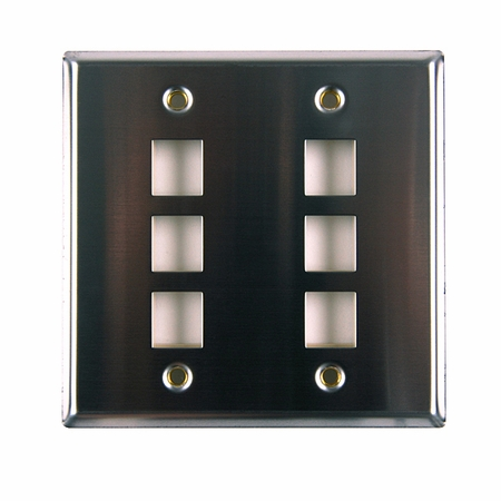 Dual Gang 6-Port Flush Mount Faceplate - Stainless Steel