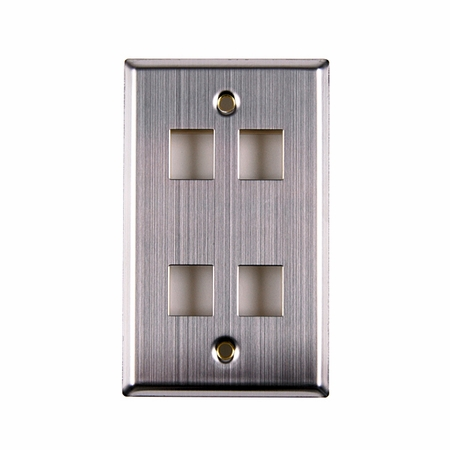 Four Port Flush Mount Faceplate - Stainless Steel