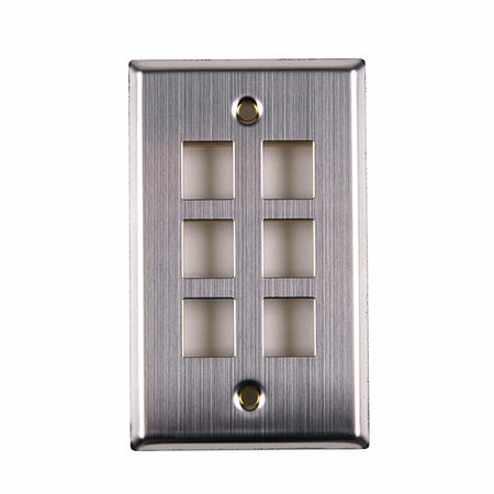 Six Port Flush Mount Faceplate - Stainless Steel