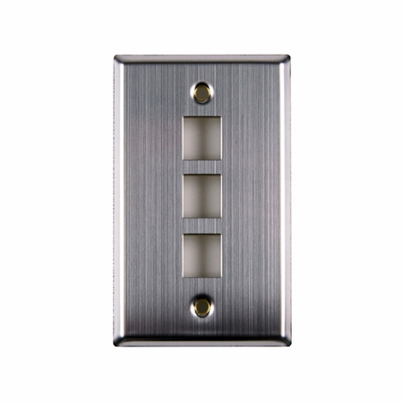 Three Port Flush Mount Faceplate - Stainless Steel