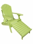 Outer Banks Poly Lumber Folding Adirondack Chair with Integrated Footrest