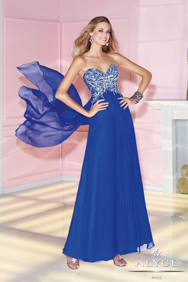 Alyce 2014 Sapphire Blue Silver Beading Long Prom Dress 6266 | 4prom.com