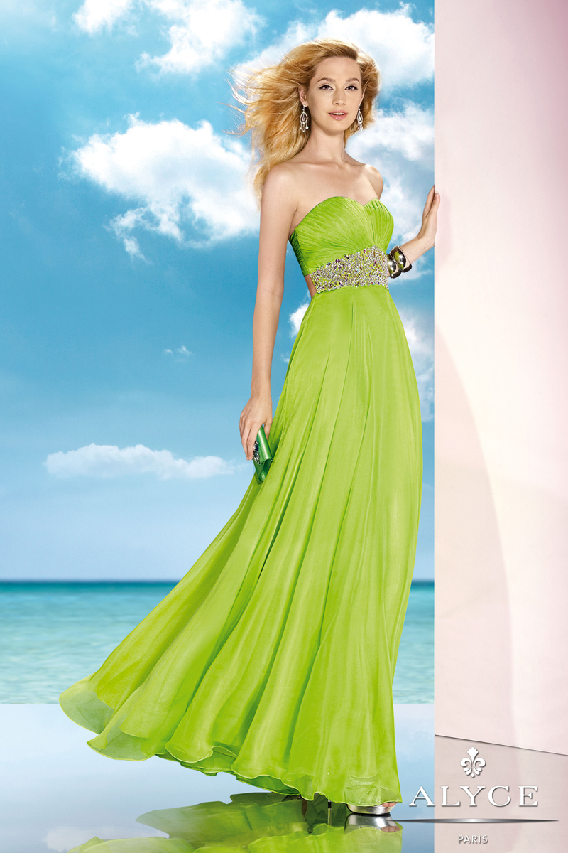 Alyce Parise 2014 Lime Green Strapless A-Line Gown 35590   4prom.com