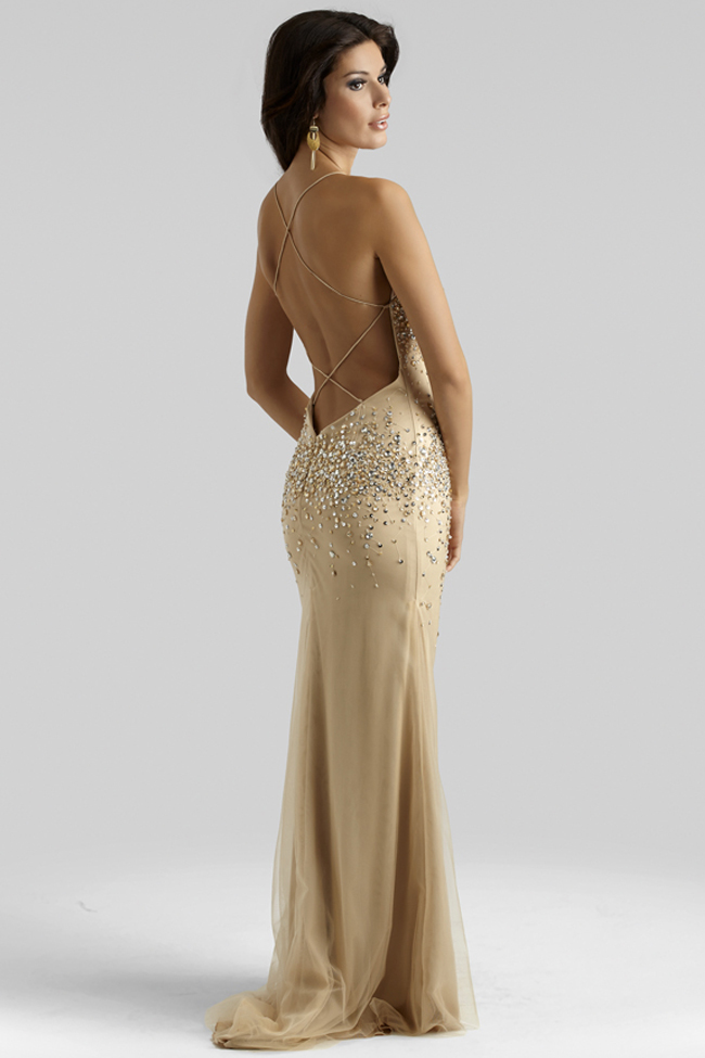 Clarisse 2014 Champagne Gold Nude Beaded Gown 2400 | 4prom.com
