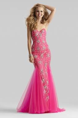 Clarisse Couture Neon Fuchsia Gown 4302